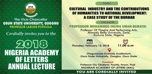 2018 NIGERIA ACADEMY OF LETTERS ANNUAL LECTURE